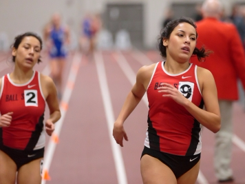 The Ball State track and field hosts the only home indoor meet of the season in the Field Sports Buidling on Feb. 17. The Cardinals will travel to Ypsilanti, Michigan to compete against 11 other teams in the Mid-American Conference Indoor Championships on Feb. 24 and 25. Kyle Crawford // DN