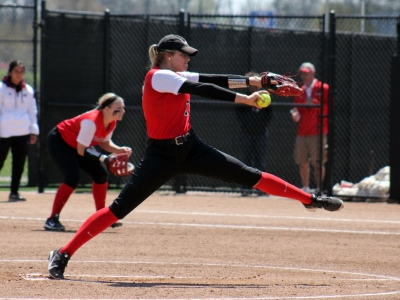 Junior Carolyn Wilmes pitches the ball in the game against Central Michigan at the Varsity Softball Complex on April 23, 2016.  Ball State softball finished Wildcat Invitational in Tucson, Arizona with a 2-3 record, and are now 3-7 on the season. Allye Clayton // DN File