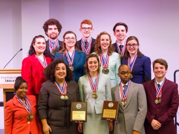 Ball State's speech team won the Quality Award and first place in 17 of the 20 categories at the Indiana Forensics Association state tournament at the University of Indianapolis on Feb. 18. The team has won the competition for the past nine years. Michael Storr // Photo Provided