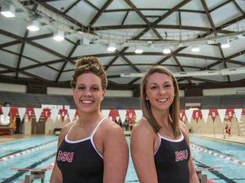 Cousins Anne Vormohr and Sophie Bader committed to the Ball State women's swimming and diving team together. As freshmen, Vormohr posted Ball State's top times this season in the 100-yard backstroke and 200-yard backstroke, and Bader had the top 200-yard individual medley and 200-yard butterfly times. Reagan Allen // DN
