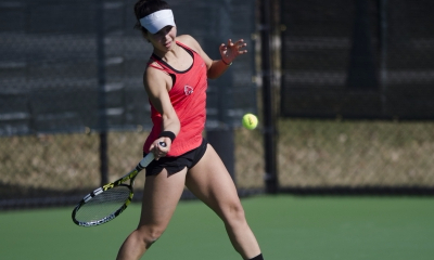 Senior Rosalinda Calderon hits a forehand during her doubles match against IUPUI on Feb. 19. Ball State women's tennis is scheduled to face Youngstown State on Feb. 25 at the Northwest YMCA in Muncie. Emma Rogers // DN