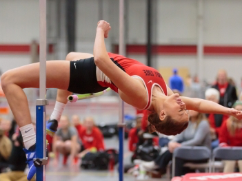 The Ball State track and field hosts the only home indoor meet of the season in the Field Sports Building on Feb. 17.Ball State track and field has officially finished the first day of a two day Mid-American Conference Indoor Championship meet. Kyle Crawford // DN File