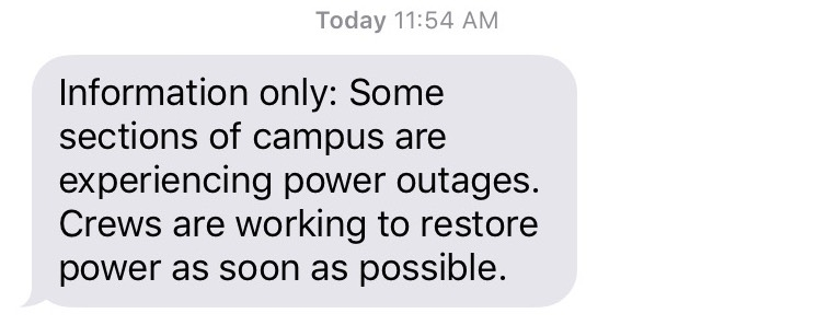 Power restored on campus
