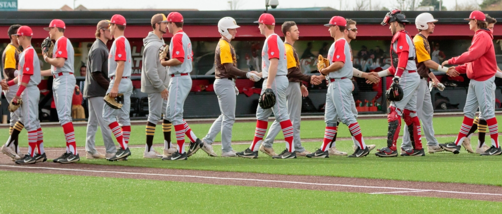 The Ball State Baseball Team shakes hands with Valparaiso at the conclusion of the game on April 11 at Ball Diamond in the First Merchants Ballpark Complex. The Cardinals won 11-2 bringing their win streak up to 4 games. Kyle Crawford // DN
