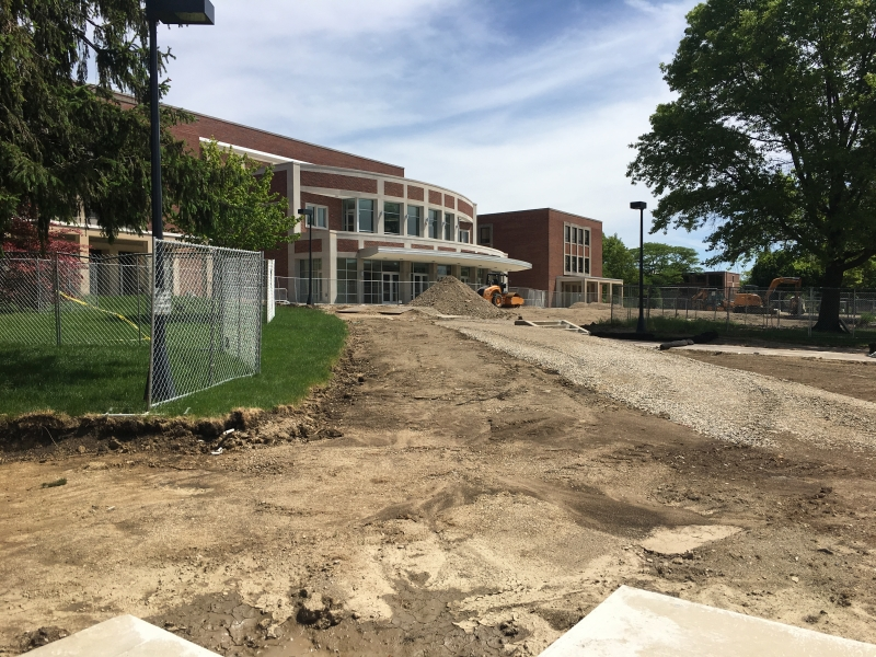 Emens' front lawn gets an update to go along with expansion project