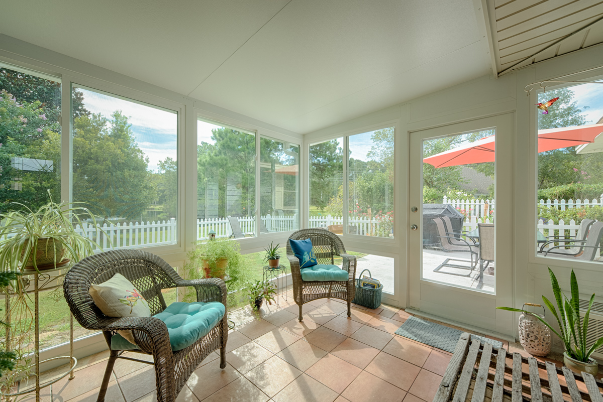 interior of sunroom with plants