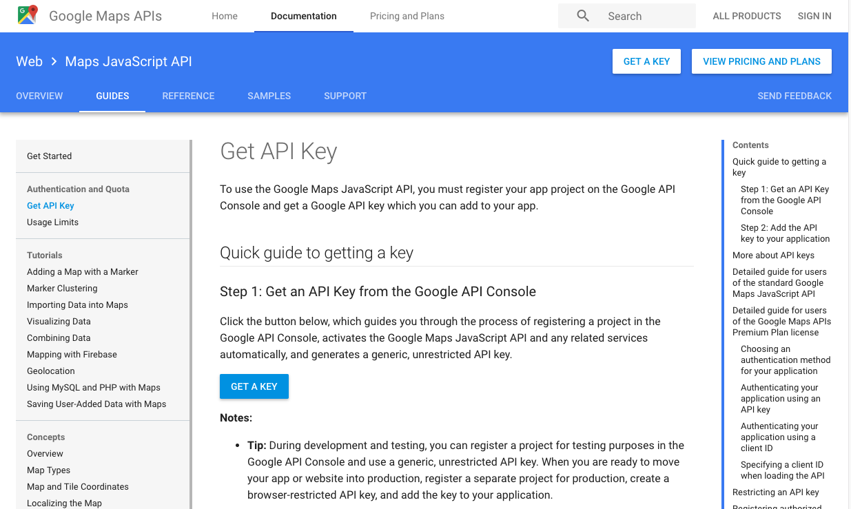 How to generate a google maps api key checklist step 1 visit the google maps javascript api page baditri Image collections