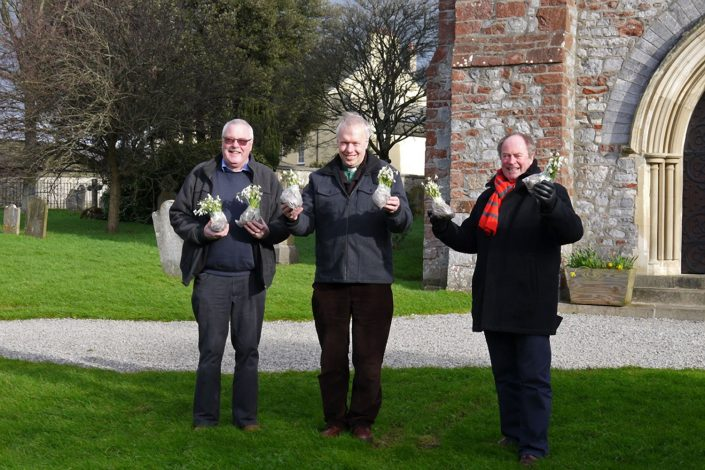 Planting snowdrops in the church grounds