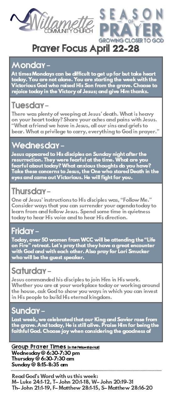 Willamette Community Church | SEASON OF PRAYER: PRAYER UNDER