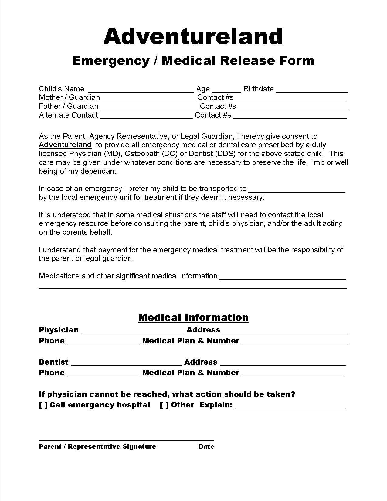 Emergency/ Contact Form · Emergency/ Medical Release ...