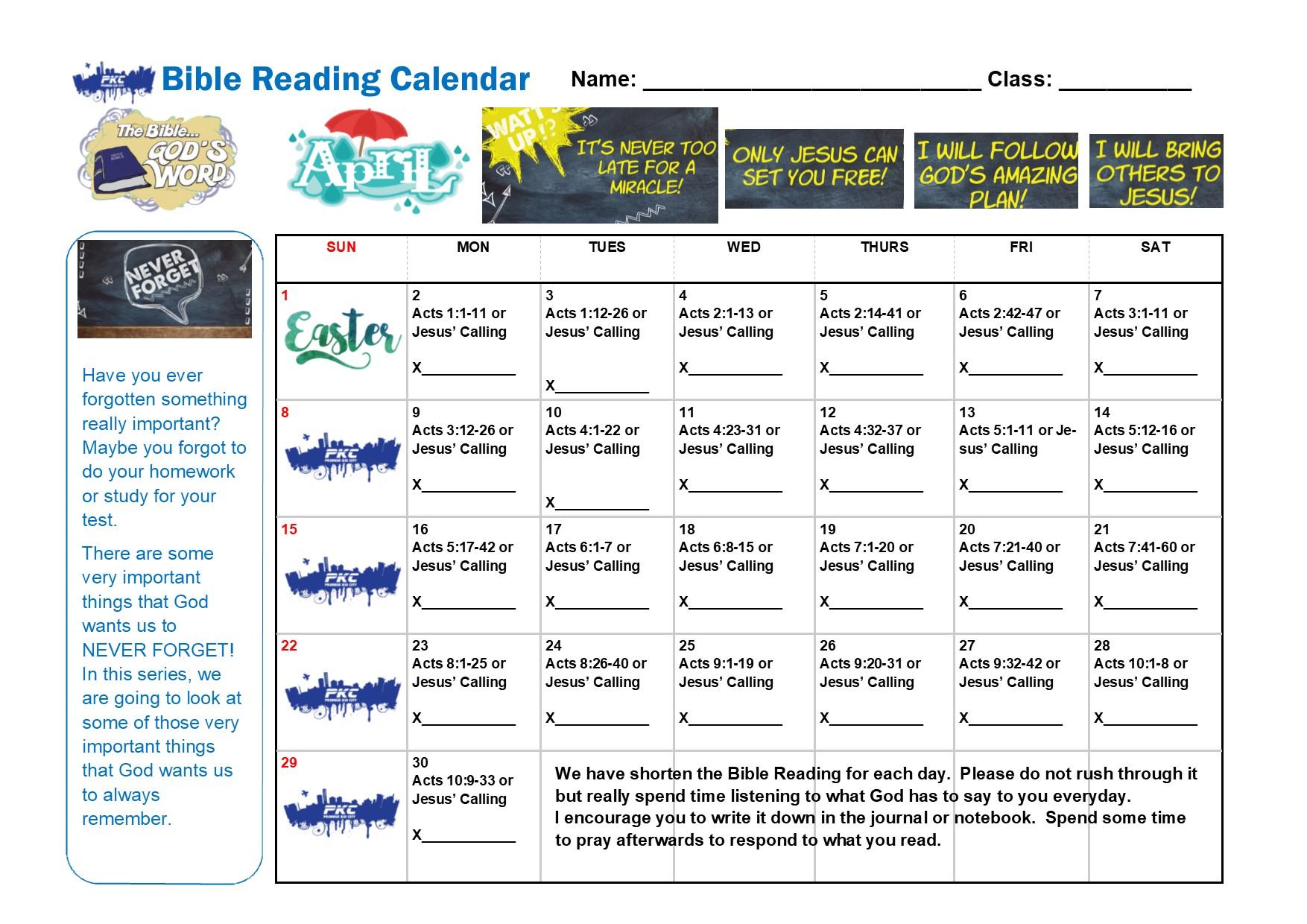 April Reading Calendar : Promise kid city bible calendar
