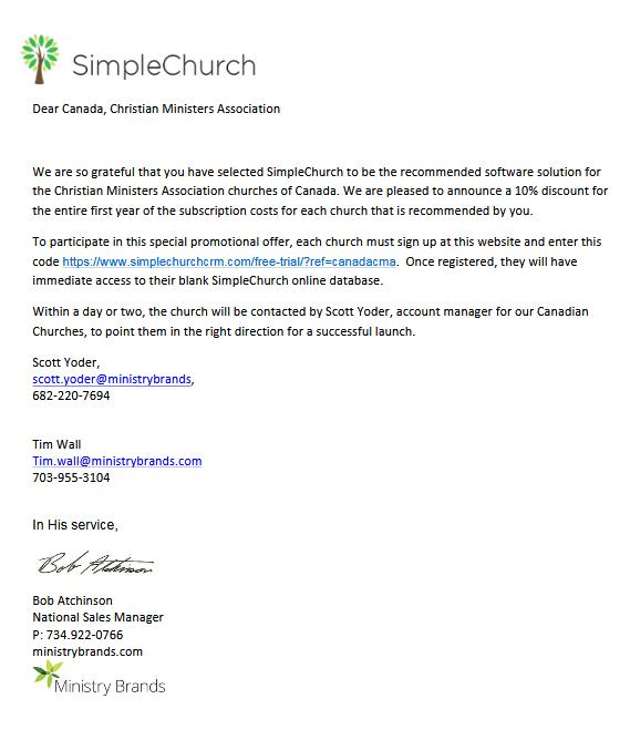 Christian Ministers Association | SimpleChurch CRM