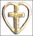 Heart with Cross Lapel Pin