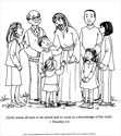 A Living Hope Coloring Page - Jesus with People (Downloadable)