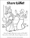 Share Life! Coloring Page - Jesus Heals a Man (Downloadable)