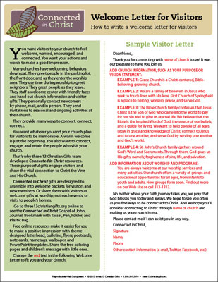 Connected in Christ Visitor Welcome Letter Template (Downloadable)