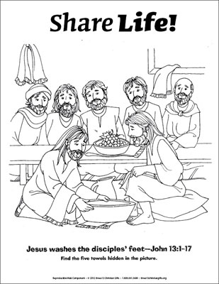 Share Life Coloring Page Jesus Washes the Disciples Feet