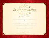 Appreciation Certificate (Pkg of 6)