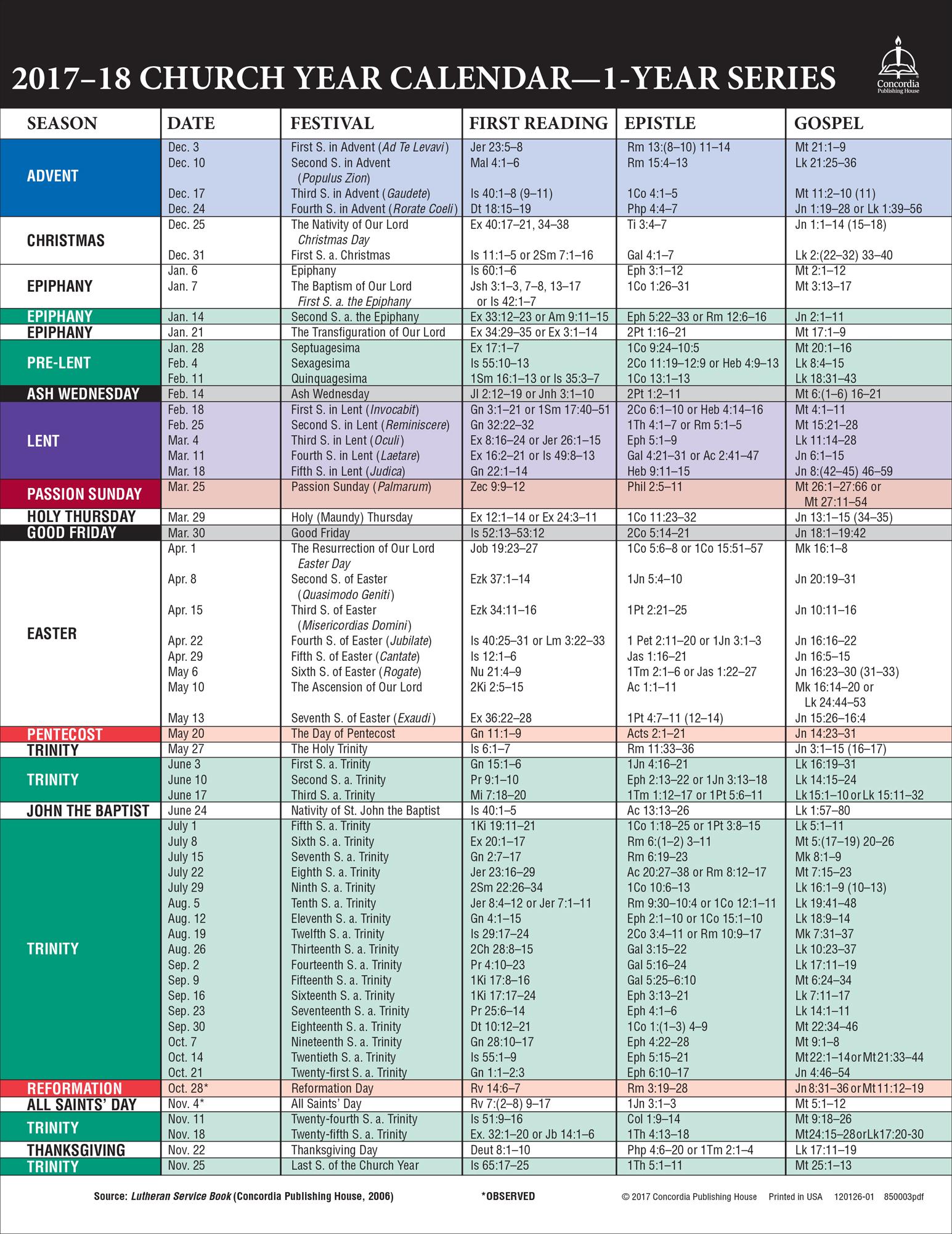 20172018 church year calendar one year