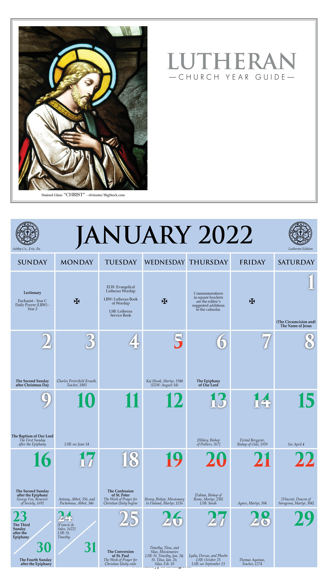2021 Church Year Calendar