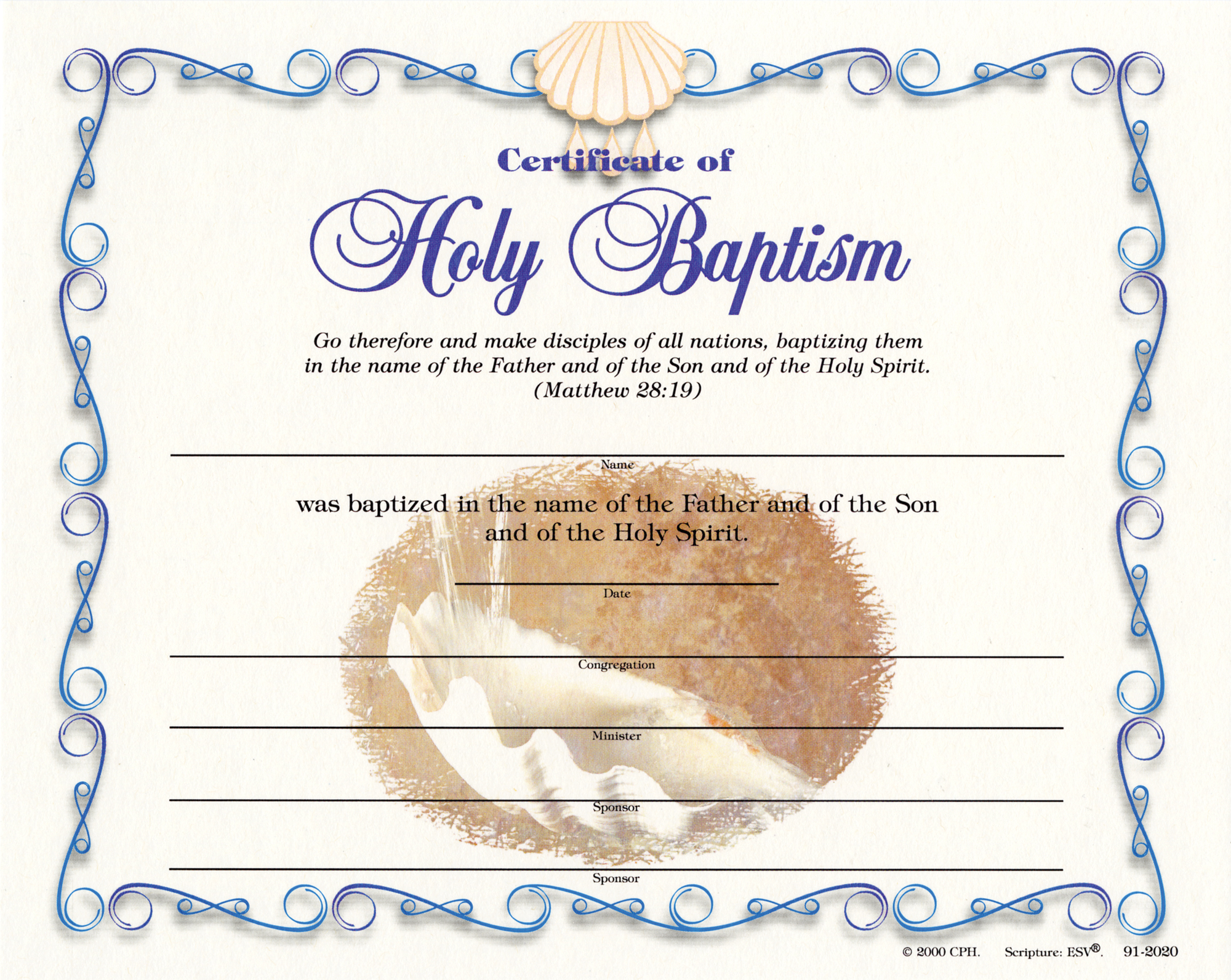 Adult baptism certificates was and