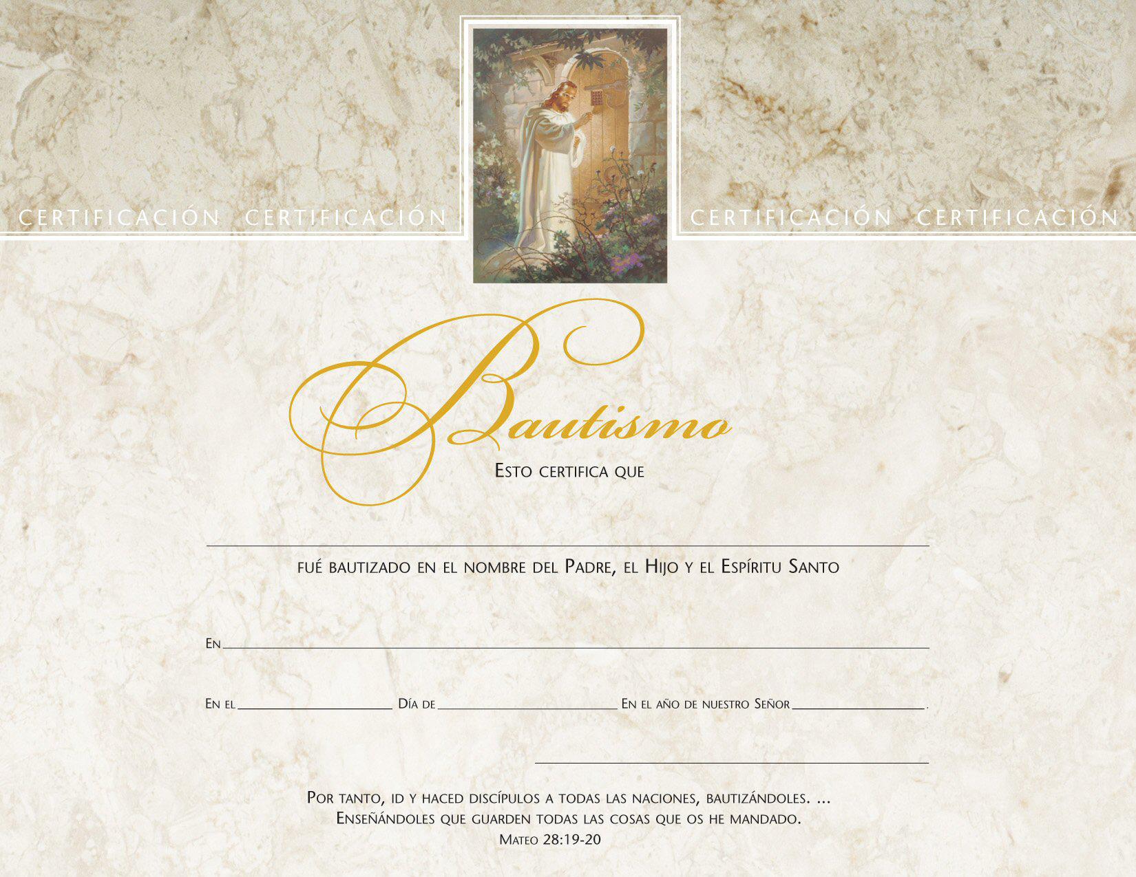 Spanish Baptismal Certificate Pkg Of 6