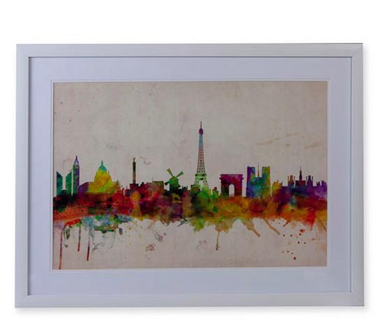 Quadro Gravura Paris Skyline Colorido 50x70cm!