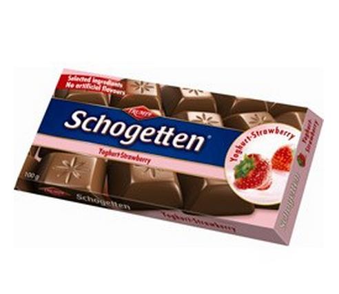 Barra em Porções de Chocolate com Morango 100g - Schogetten!