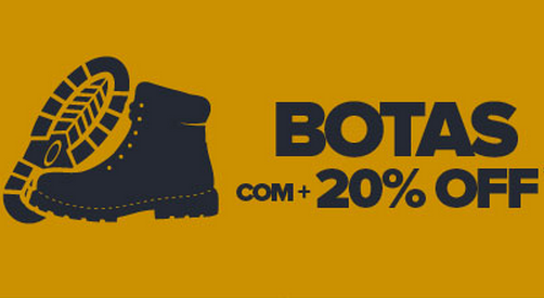 Cupom de 20% de desconto extra em Botas!