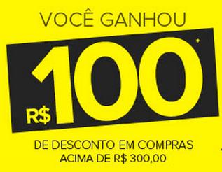 Cupom de R$100 de desconto extra em compras acima de R$300!