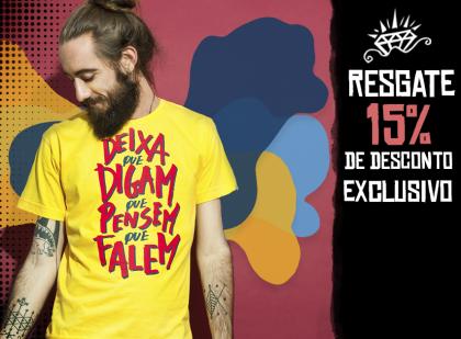 15% OFF em mais de 400 modelos de camisetas!