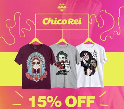 Cupom de 15% exclusivo em todo o site da Chico Rei!
