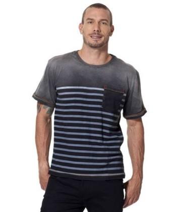 Camiseta Jeans Listras Localizadas Bolso