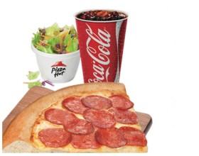 Super Fatia de Pizza + Acompanhamento + Refrigerante na Pizza Hut Shop. Metrô Santa Cruz