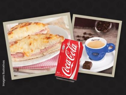 50% OFF: Croque Francês + Coca-Cola + Café Espresso Regional