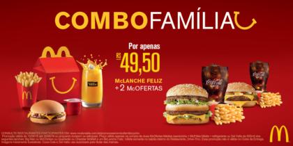 Combo Família (McLanche Feliz + 2 McOfertas) por só R$49,50