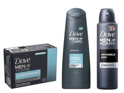 30% OFF: Kit DOVE MEN CARE (Antitranspirante + Sabonete + Shampoo)