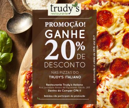 Jantar no Restaurante Trudy's Italiano – Pizzas com 20% de desconto