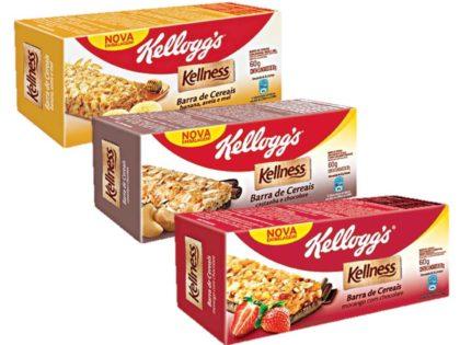 Cereal em Barra Sabores Banana, Morango ou Castanha KELLNESS 60g Caixa com 3 Unidades!