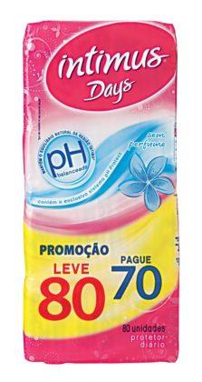 Protetor Diário INTIMUS DAYS sem Perfume Pacote Leve 80 Pague 70 Unidades!