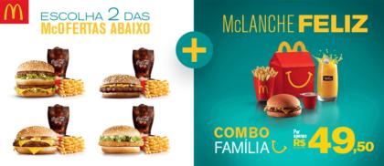 Combo Família por R$49,50: 02 McOfertas + McLanche Feliz