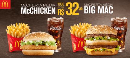 McOferta Média McChicken + McOferta Média Big Mac por R$32,50