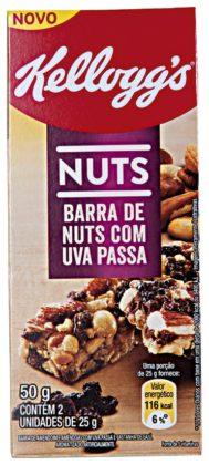 Cereal em Barra de Nuts com Uva Passa KELLOGG´S 50g Caixa com 2 Unidades 25g Cada!