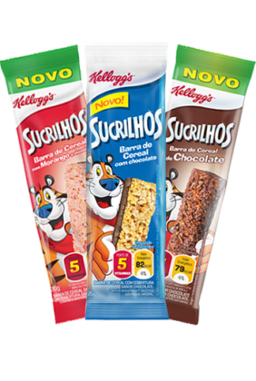 Cereal em Barra Sucrilhos Tradicional, Chocolate ou Morango KELLOGG'S 60g caixa 3 unid.