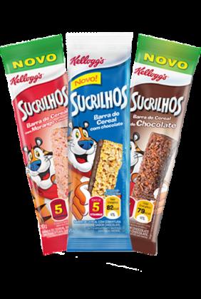 Cereal em Barra Sucrilhos Tradicional, Chocolate ou Morango KELLOGG'S 60g Caixa c/ 3 Uni!