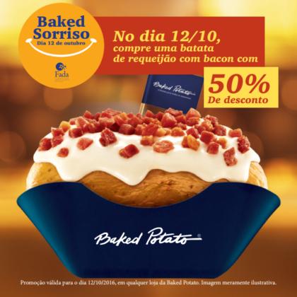 Baked Sorriso: No dia 12/10, compre Batata de Requeijão com Bacon com 50% de desconto