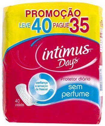 Protetor Diário Intimus Sem Perfume L40 P35 unidades!