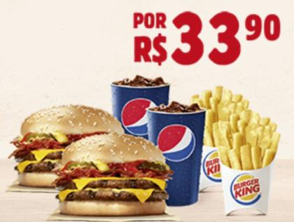 2 Combos Cheeseburger Duplo com Bacon por apenas R$33,90