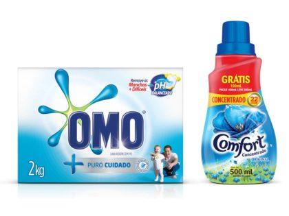 Sabão em Pó OMO 2kg + Amaciante Concentrado COMFORT 500ml