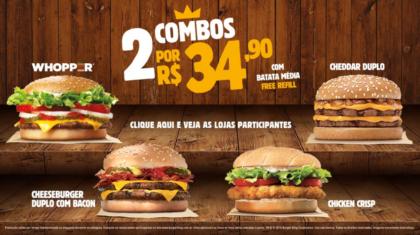 2 Combos por R$34,90: Sanduíche + Batata Média + Free Refill